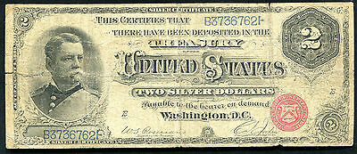 """Fr. 240 1886 $2 Two Dollars """"Hancock"""" Silver Certificate Currency Note"""