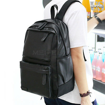 Fashion Men Women Leather Black Backpack Satchel Rucksack Shoulder School Bag