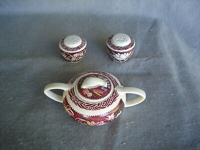 vernon kilns LEI LANI pottery  salt /pepper and Sugar bowl    Hawaii theme