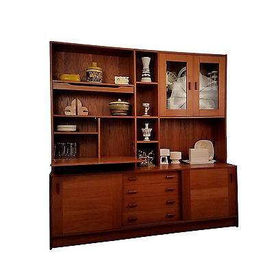 Domino Mobler Two Piece Teak Credenza and Hutch