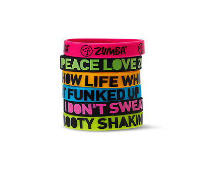ZUMBA Fitness Express Yourself multi-color rubber bracelets 6-pack NWT