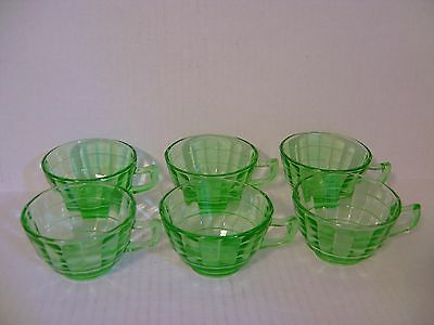 Vintage Set Of Six Anchor Hocking Green Block Optic Depression Glass Tea Cups