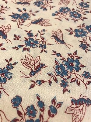 Vintage Feed/Flour Sack Cotton Fabric Blue & Burgundy Novelty Bee&Floral 36x19