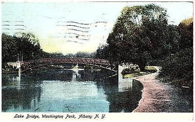 1907 Postcard view of the lake bridge Washington Park Albany New York NY used