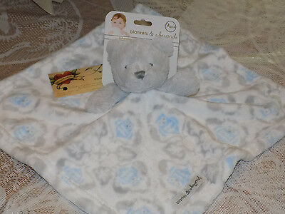 Blanket Beyond Security Gray Bear Head Owls Blue White Skirt Fleece Square Soft