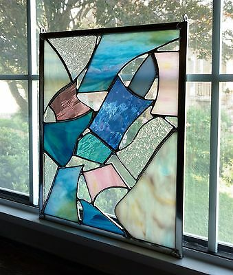 """Abstract Geometric Stained Glass Window Panel - 9"""" x 11"""", Modern Glass Art"""