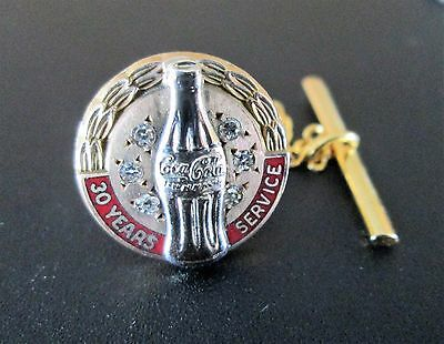Vintage  Jeweled Coca Cola Award Lapel Pin 30 Years Of Service