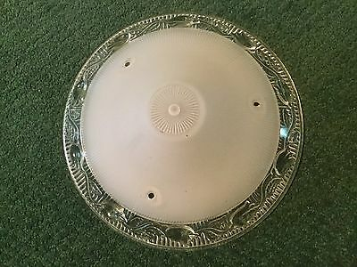 """Vintage Frosted Ribbed And Clear Glass Shade Globe Ceiling Fixture 10"""" Across"""