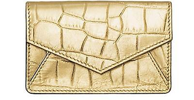 ILI LEATHER ENVELOPE BUSINESS CARD or CREDIT CARD CASE HOLDER GOLD CROCO ~ NEW