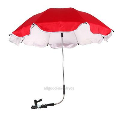 Clip On Height Adjustable Pram Pushchair Umbrella Parasol Sun Shade UV Rays