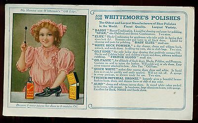 Early 1900 Whittemore's Shoe Polishes Advertising Blotter
