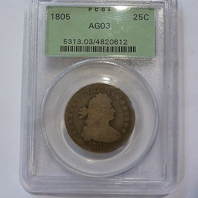 1805 Draped Bust Quarter Dollar Pcgs Ag03 Green Holder