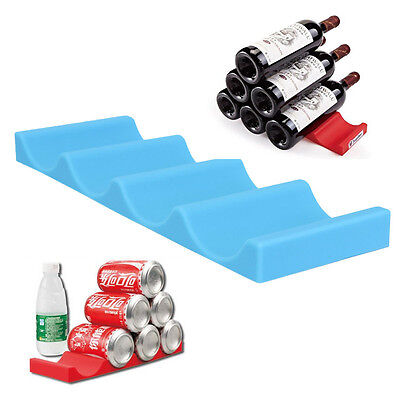 Fridge Wine Can Beer Silicone Rack Storage Tidy Holder Stacker Organizer Mat