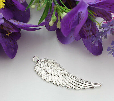 10PCS Silver Plate Angel Wing Charm Pendants A15894