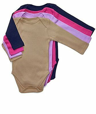 Leveret Long Sleeve 4-pack Solid Baby Girls Bodysuit 100% Cotton6-12 Months,