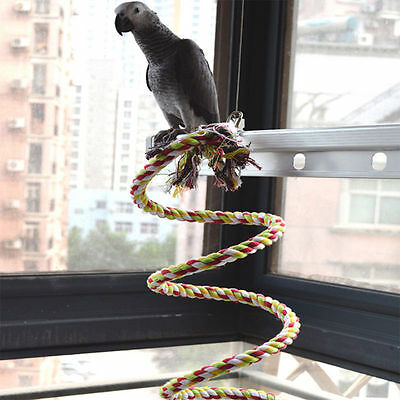 Pet Parrot 1/1.5/2M Chew Rope Bell Bird Perch Coil Swing Cockatiel Cage Hang Toy