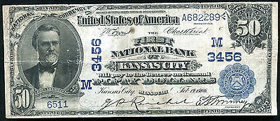 1902 $50 The First National Bank Of Kansas City, Mo National Currency Ch. #3456