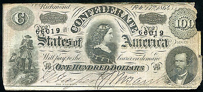 """1864 $100 One Hundred Csa Confederate States Of America """"Lucy Pickens"""""""