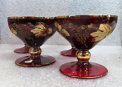 Red Ruby Grape Harvest Cordial Liquor Glasses Made in Czechoslovakia Set of 4