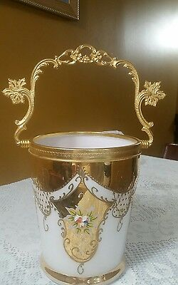 Vintage Imperial gold white glass Bust Ice Bucket