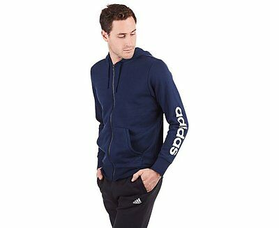 Mens Size Medium Adidas Essentials Cotton Blend Full Zip Hoodie Jacket Navy Blue