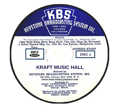 Kraft Music Hall (233 Shows) Old Time Radio Mp3 4 Cd's