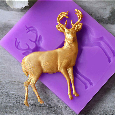 Vivid 3D Deer Elk Shape Fondant Mould Cake Decor Sugar Chocolate Mold Silicone