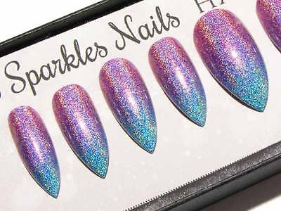 Pink Blue Holographic Press On Gel Acrylic Fake False Faux Glue On Ombre Nails