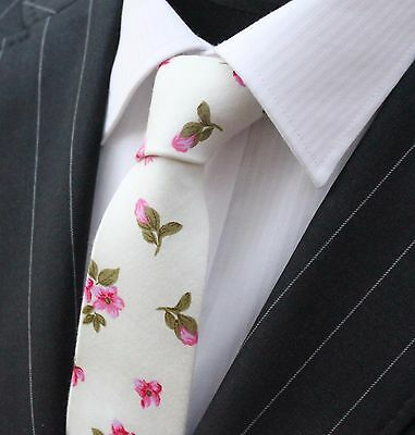 Tie Neck tie Slim Off White with Pink Floral Quality Cotton T651