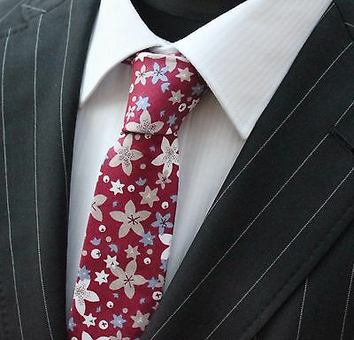 Tie Neck Tie Burgundy with Floral Quality Cotton T652