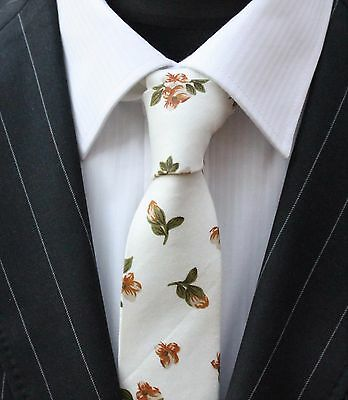 Tie Neck Tie Off White with Brown Floral Quality Cotton T656