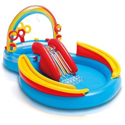 Intex Rainbow Kids Play Centre Inflatable Swimming Paddling Pool with Slide