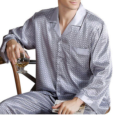 Luxury Night Pajamas + Loungwear Satin Silk Long Sleeve Sleepwear Set Men's Plus