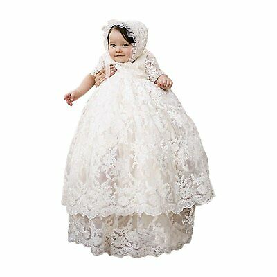 Long Ivory Christening Gown for Baby Girls Lace Baptism Dress with Bonnet 18M