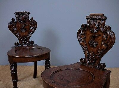 Antique Pair Oak Hall Chairs With Heraldic Carvings C.1860.