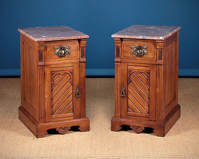 Antique Pair of Marble Top Satinwood Bedside Cabinets c.1890.