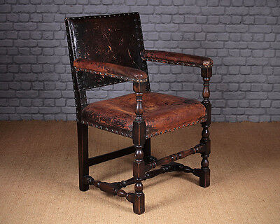 Antique Oak & Leather Armchair c.1910.
