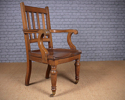 Large Antique Oak Desk Armchair c.1910.