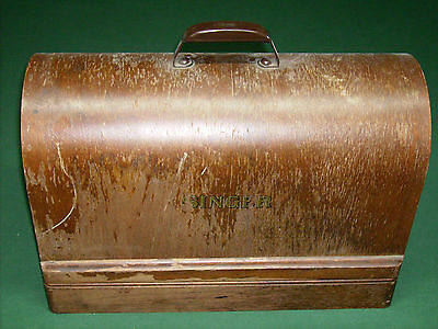 Singer Sewing Machine Wood Case With Dome Lid and Tray 8 3/8 x17 1/4 x 11 3/4H