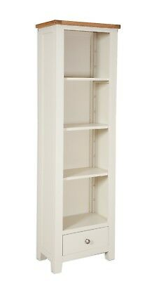 Dorset Oak Slim Bookcase Solid Cabinet Pine in Painted French Ivory Cream