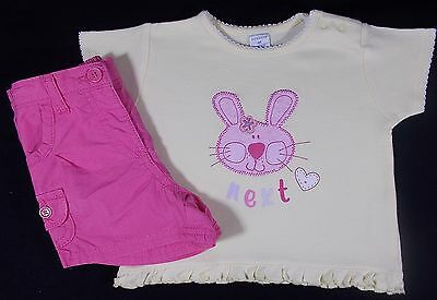 Next baby girl shorts t shirt top set outfit 3-6 months cotton