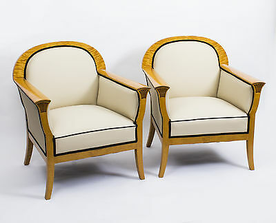Antique Pair Swedish Art Deco Creme Leather Armchairs c.1920