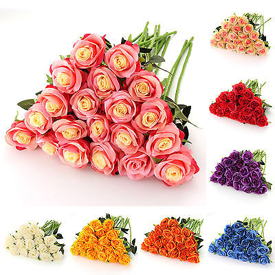 20PCS Head Real Touch Rose Artificial Flowers Bouquet Wedding Home Decor