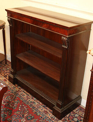 Small Carved Acanthus Leaf Flame Mahogany Bookcase Book Shelf Great Size