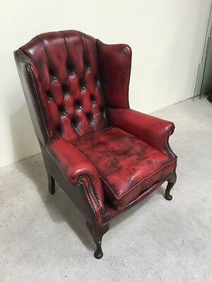 Antique Design Red Leather Chesterfield Wing Back Chair Library Chair