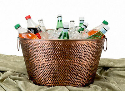 Large Hammered Antique Copper Party Tub Ice Bucket w/Handles - Oval, 8 Gal.