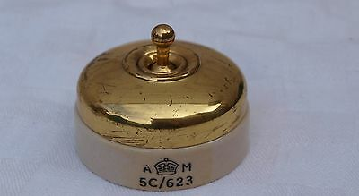 Am 5C/623 Air Ministry Marked Brass & Ceramic Vitreous Two Way Light Switch