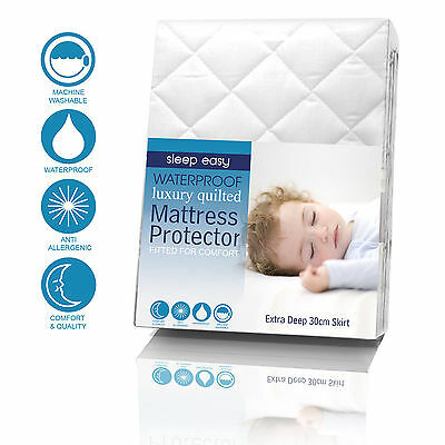 WATER PROOF Quilted mattress protector with 30cm extra skirt single,double,king