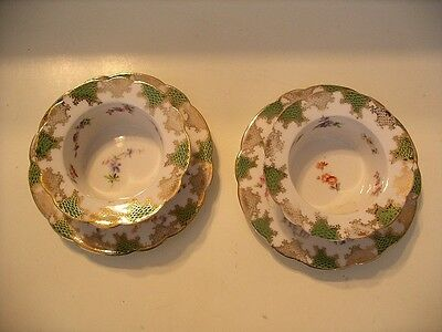 Set of 2 Imperial Crown China Austria Ramekins & Saucers Courting Couples!
