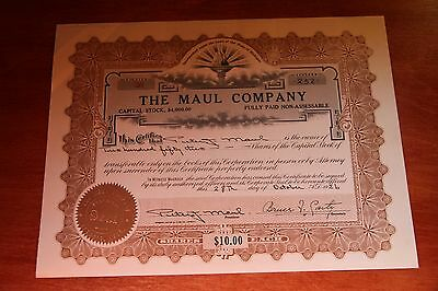 The Maul Company 252 Shares   Vintage Stock Certificate 1926 Detroit Mi #20